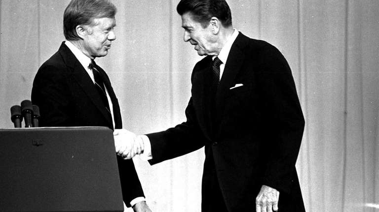 President Jimmy Carter, left, and Republican Presidential candidate