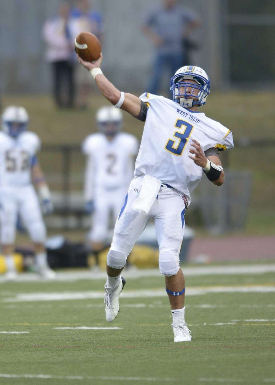 West Islip's Sam Ilario looks to the end