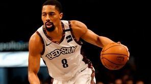 Brooklyn Nets guard Spencer Dinwiddie drives against Atlanta