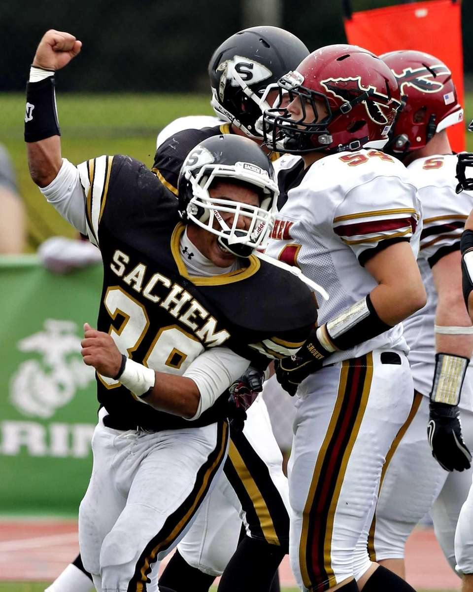 Sachem North's George Carrion celebrates after Stopping Sachem