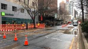 An Upper West Side water main break flooded streets near