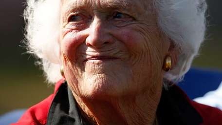 Former first lady Barbara Bush watches the play