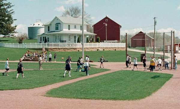 Eighth graders from East Dubuque, Ill., playing baseball