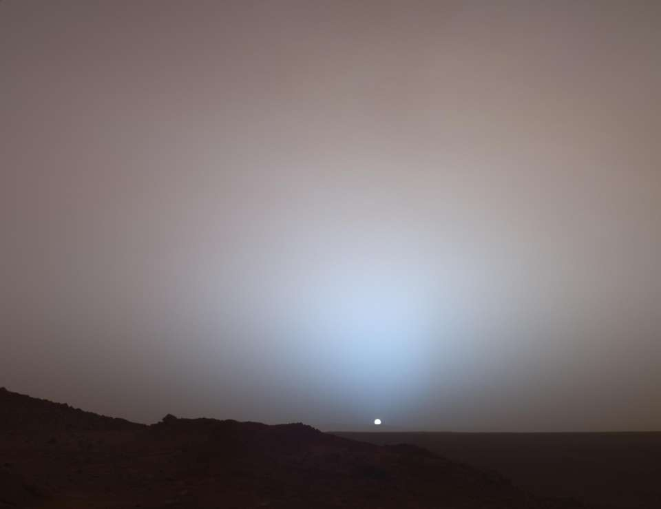 The sun sets on Gusev crater, as seen