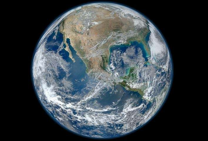 The Blue Marble Earth montage, created over four