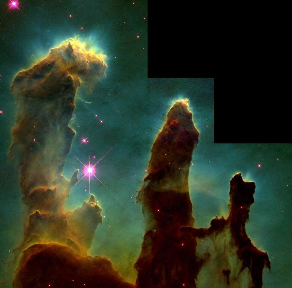 These pillar-like structures are columns of cool interstellar