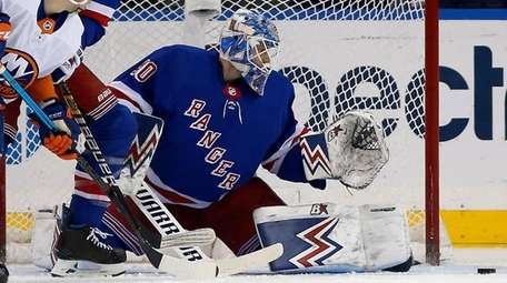 Alexandar Georgievof the New York Rangers defends the