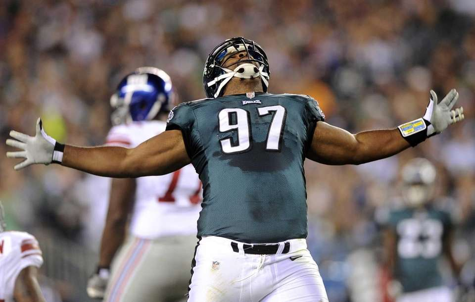 Philadelphia Eagles defensive tackle Cullen Jenkins reacts after