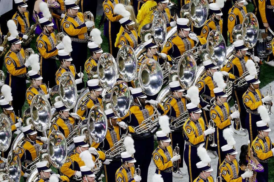 The LSU band performs before the College Football