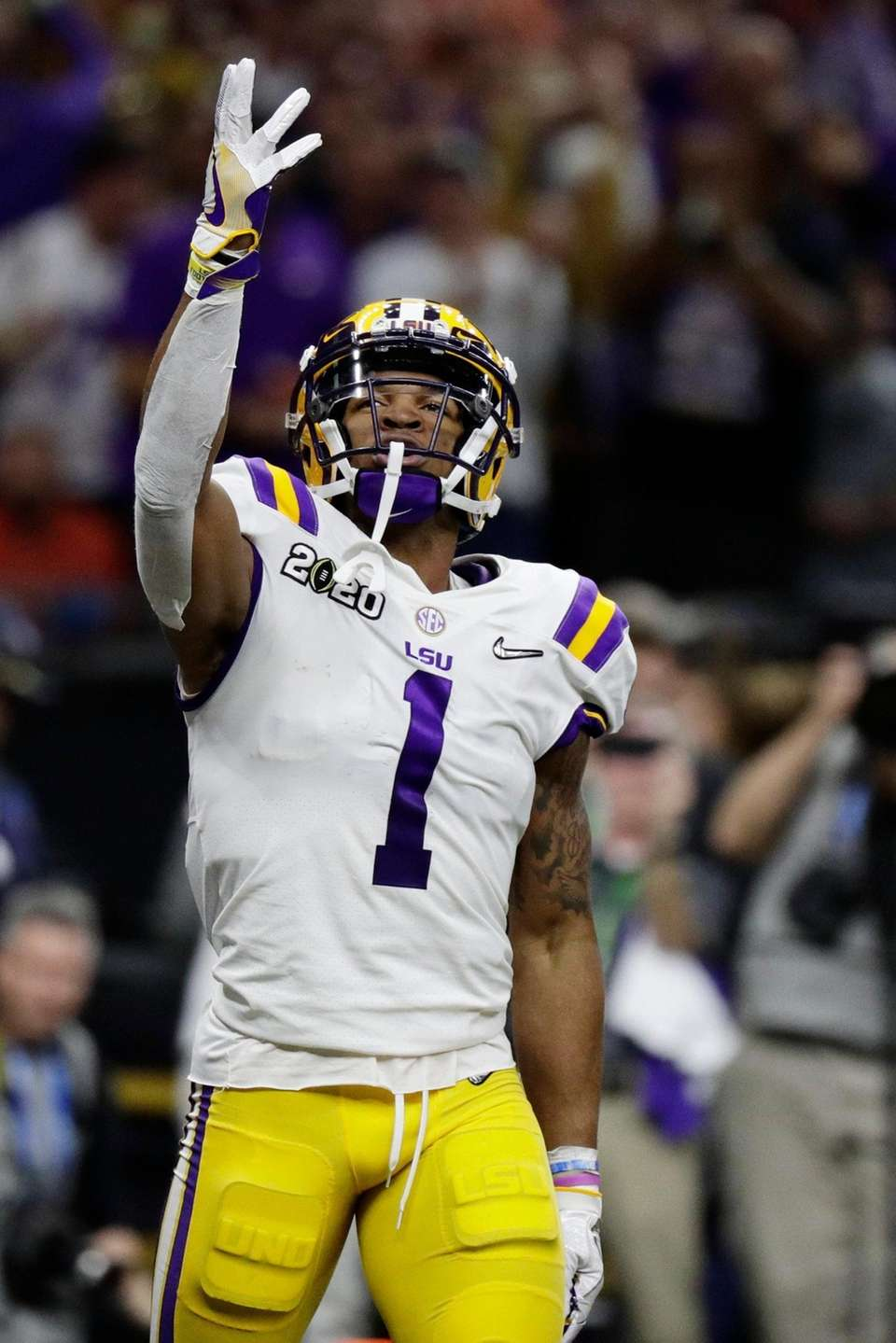 LSU wide receiver Ja'Marr Chase celebrates after scoring