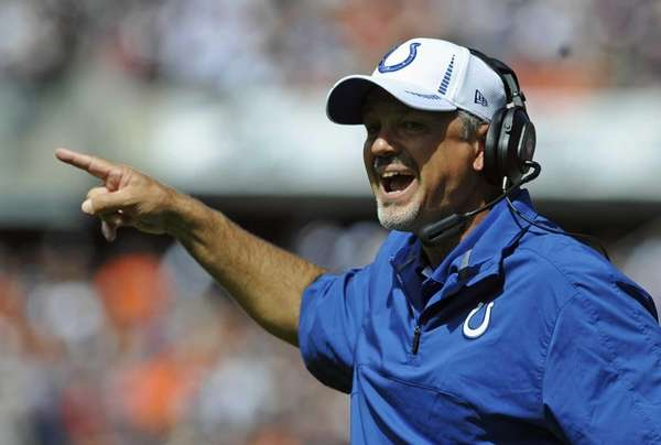 Indianapolis Colts head coach Chuck Pagano shouts out
