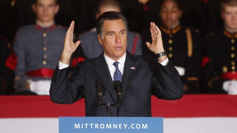 Mitt Romney speaks during a rally at Valley