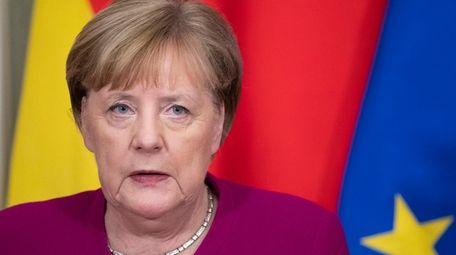 German Chancellor Angela Merkel speaks during her and