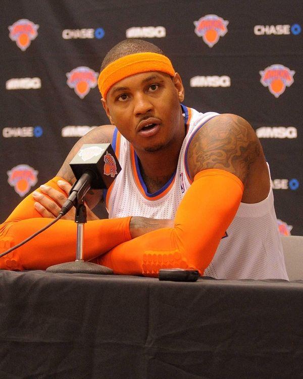 Carmelo Anthony of the New York Knicks speaks