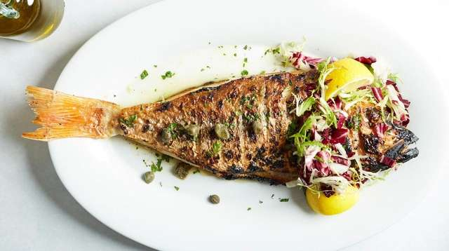 Grilled red snapper for two served at Vilai,