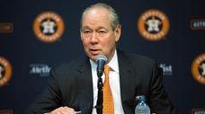 Houston Astros owner Jim Crane speaks at a