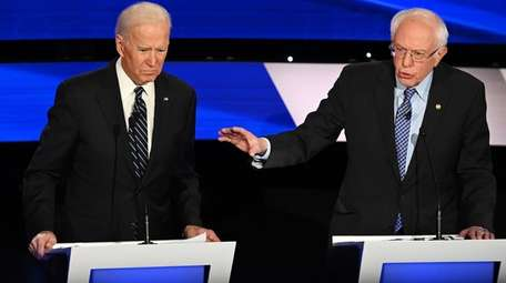 Joe Biden and Bernie Sanders at the Democratic