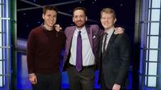 James Holzhauer, left, Brad Rutter and Ken Jennings
