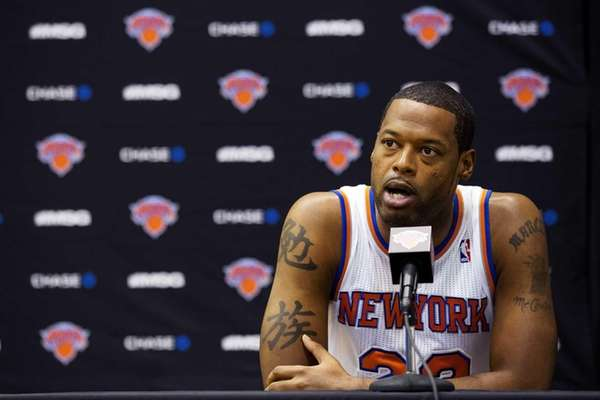New York Knicks center Marcus Camby speaks during