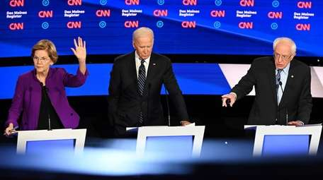 Elizabeth Warren, Joe Biden and Bernie Sanders on