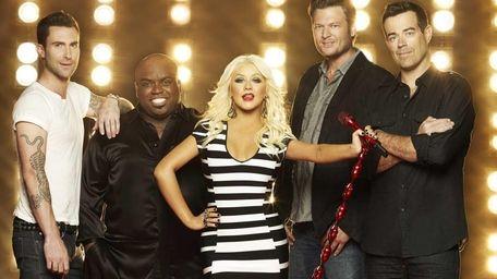 Judges Adam Levine, CeeLo Green, Christina Aguilera, Blake