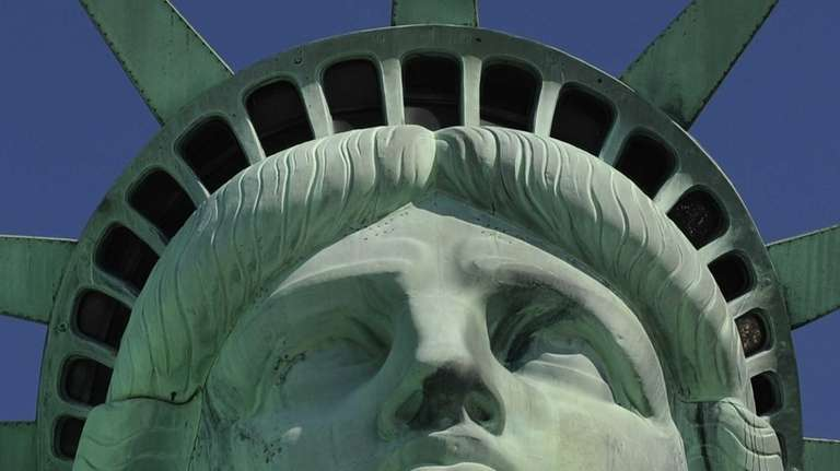 The front of the Statue of Liberty during