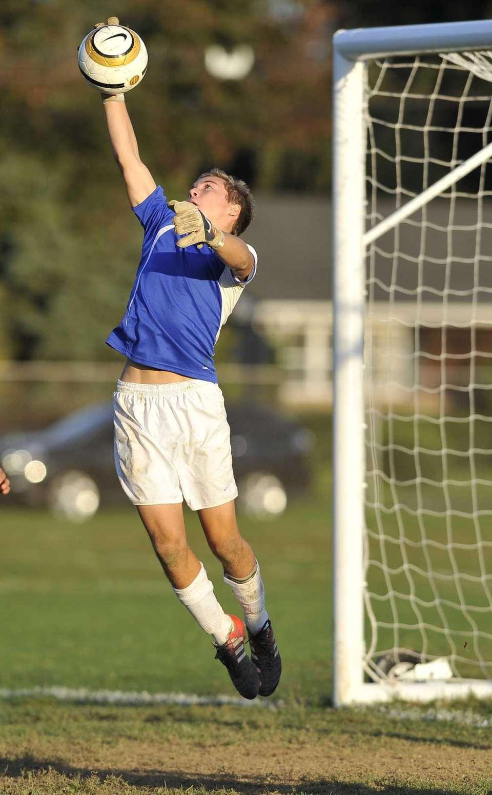 East Hampton goalkeeper Nick Tulp makes a save.