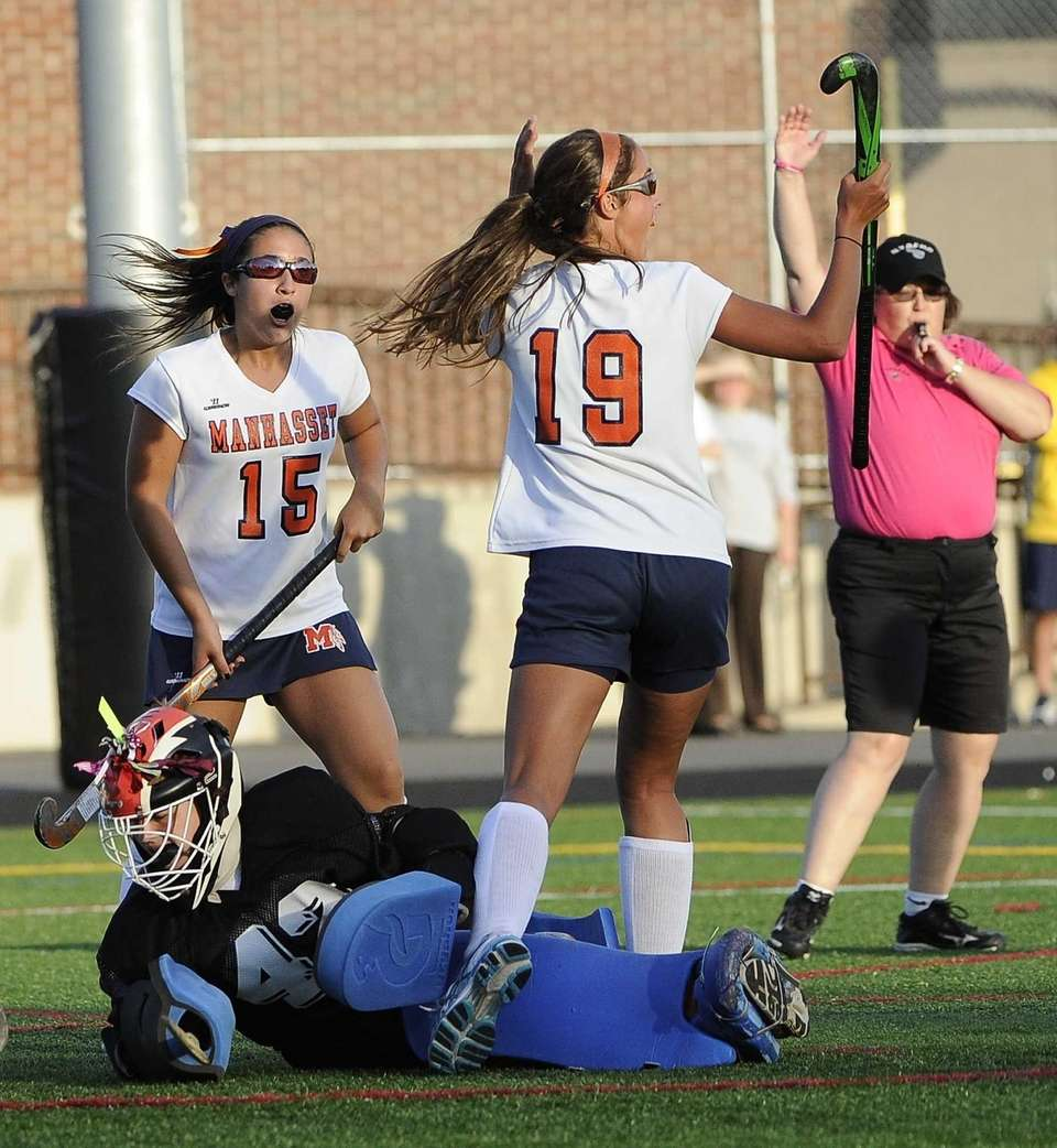 Manhasset's Emily Koufakis reacts to the goal scored