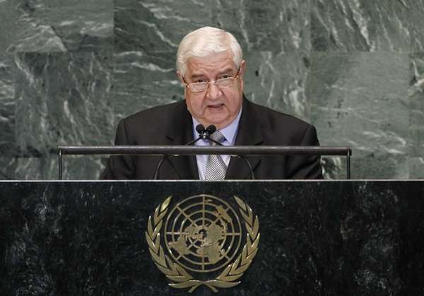 Walid Moallem, Foreign Minister of Syria, addresses the