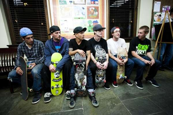 Left to right, skateboarders Joseph Coppola, 21, of