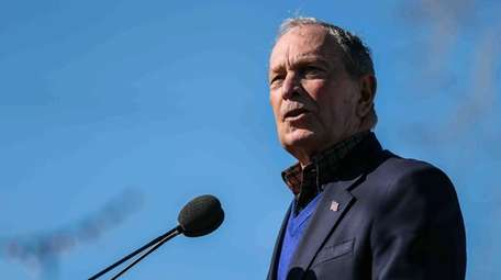 Democratic presidential candidate Michael Bloomberg speaks during his