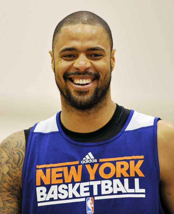 Tyson Chandler of the Knicks smiles during the