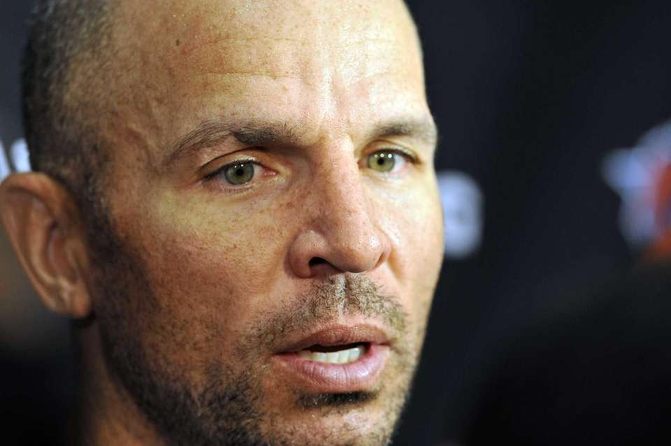 Jason Kidd talks to the media after practice.
