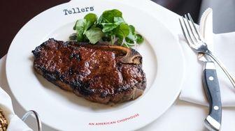 The Celebration steak, a bone-in NY strip, is