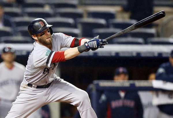Dustin Pedroia connects on a first inning RBI