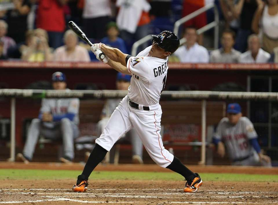 The Miami Marlins' Adam Greenberg bats for the