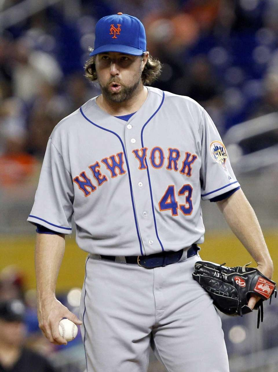 R.A. Dickey prepares to pitch after the Miami