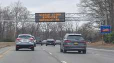 A sign on the Northern State Parkway alerts