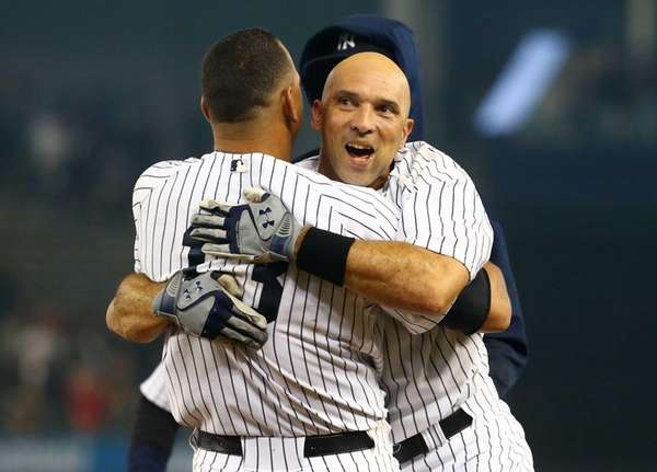 Raul Ibanez celebrates his game-winning RBI single in