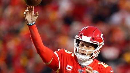 Kansas City Chiefs quarterback Patrick Mahomes passes the