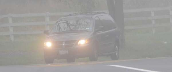 Dense fog, like this on Mill Road in