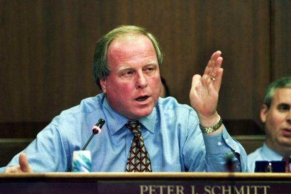 Nassau County Legislator Peter Schmitt questions the budget