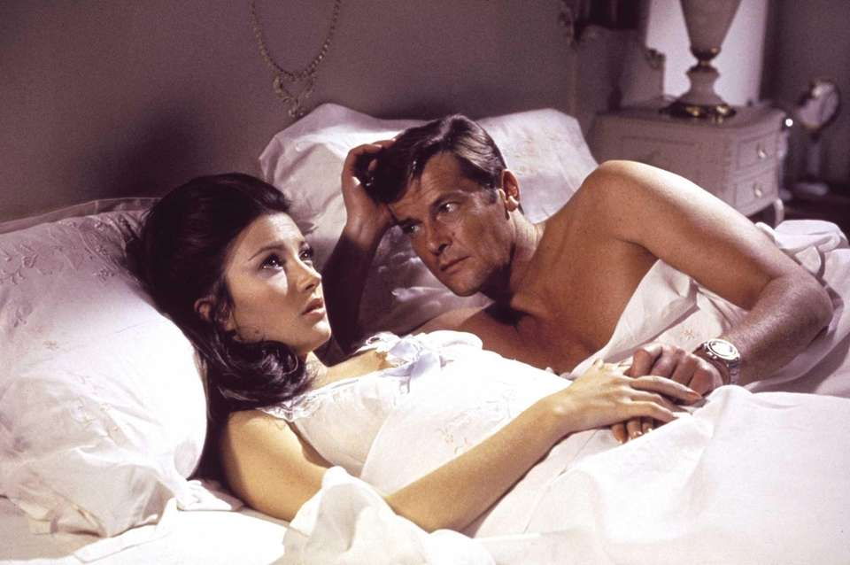 Jane Seymour, left, and Roger Moore, are seen