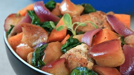 Chicken with apple, sweet potato and spinach is
