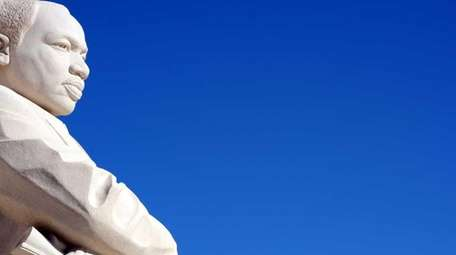 The Martin Luther King, Jr sculpture is seen