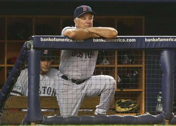 Boston Red Sox manager Bobby Valentine looks on