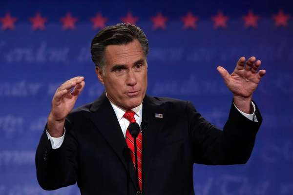 Former Massachusetts Gov. Mitt Romney speaks during the