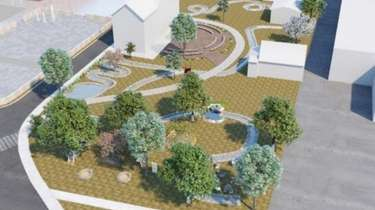 An artist's rendering of a town square in