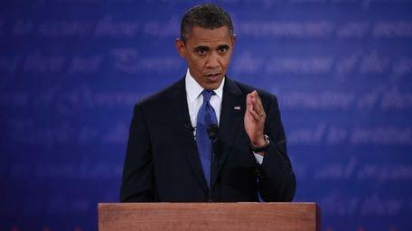 President Barack Obama speaks during the Presidential Debate