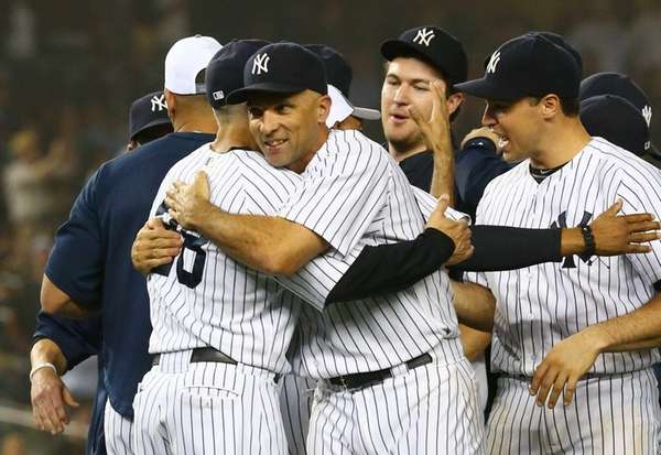 Raul Ibanez and manager Joe Girardi celebrate after